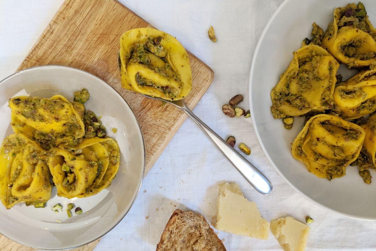 Pistachio pasta overhead